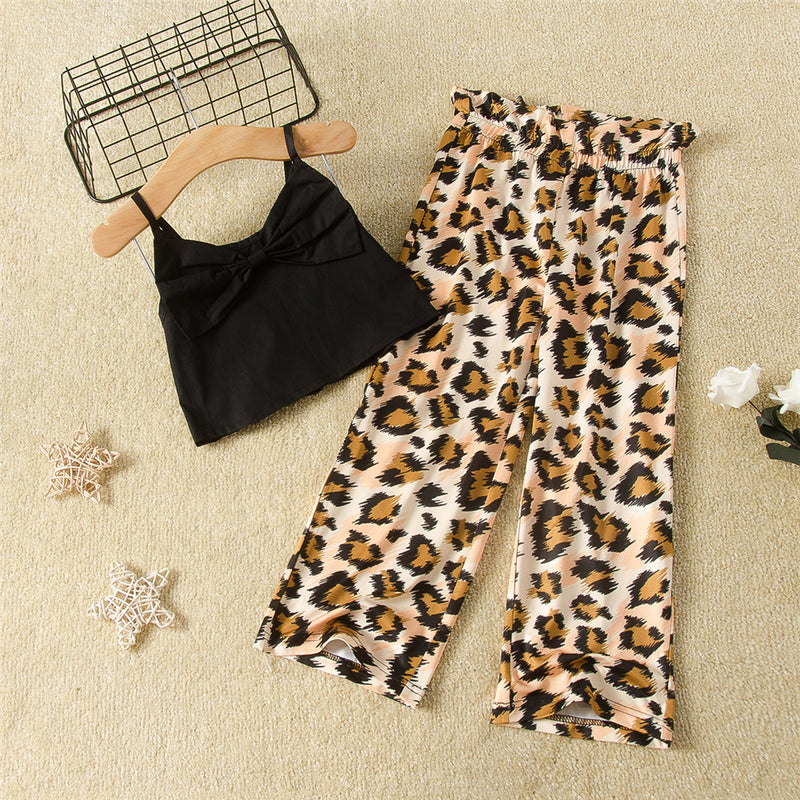 Girls Bow Solid Color Sling Top Leopard Printed Trousers Toddler Girl Boutique Clothing Wholesale