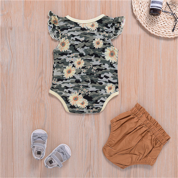 Baby Girls Bow Sunflower Camo Printed Sleeveless Romper & Shorts cheap baby girl clothes boutique