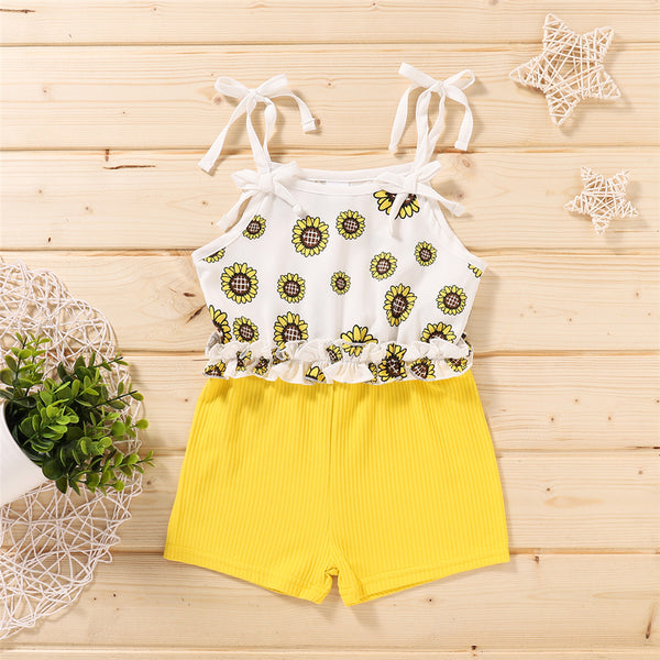 Baby Girls Bow Sunflower Printed Jumpsuit baby wholesale