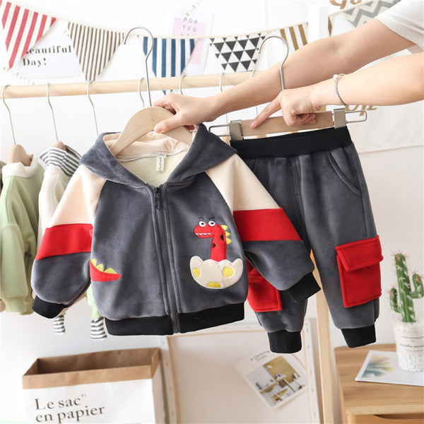Boys 3 Suits Born Dinosaur Hooded Long Sleeves Top & Pants Wholesale Boys Clothes