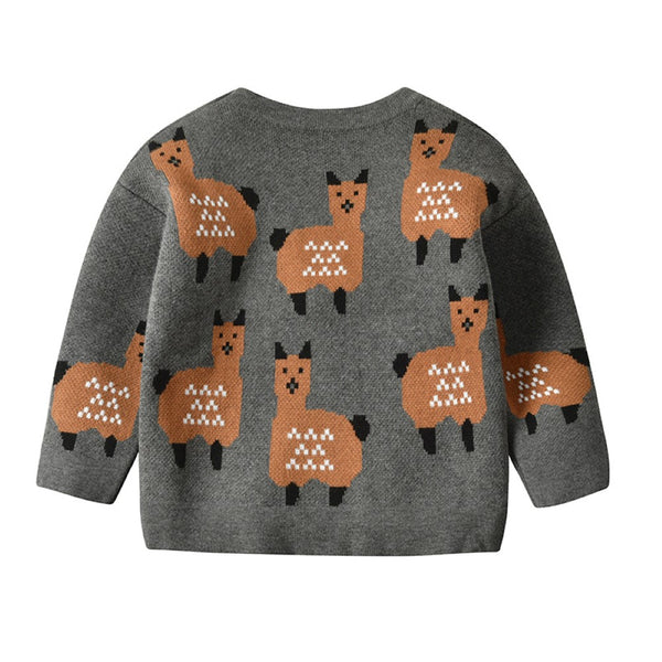 Boys Alpaca Pattern V-Neck Cardigan Jacket Wholesale Clothing For Boys