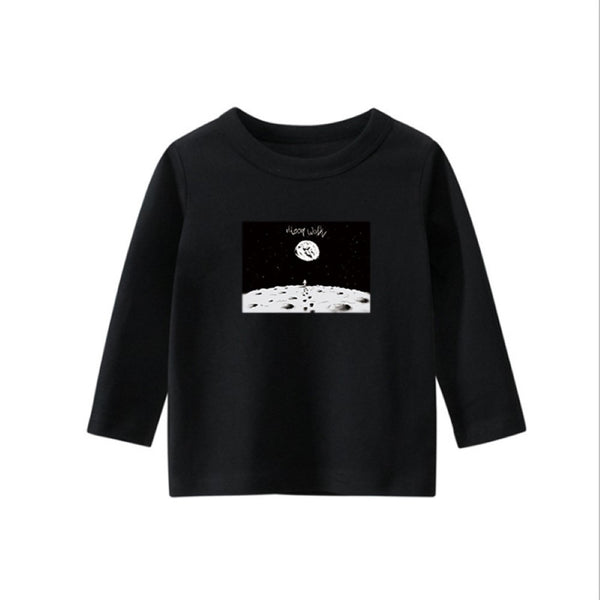 Boys Astronaut Moon Pattern Long Sleeves Top Boys Clothes Wholesale
