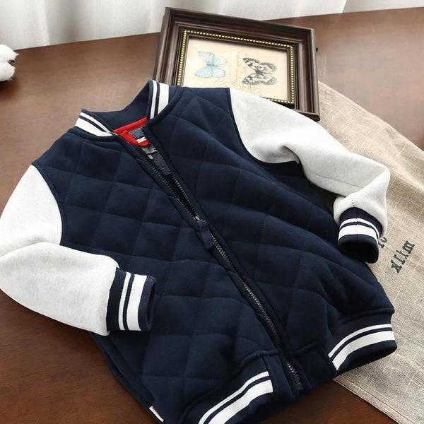Boys Baseball  Splicing Color Zipper Long Sleeves Jacket Boys Wholesale Clothing
