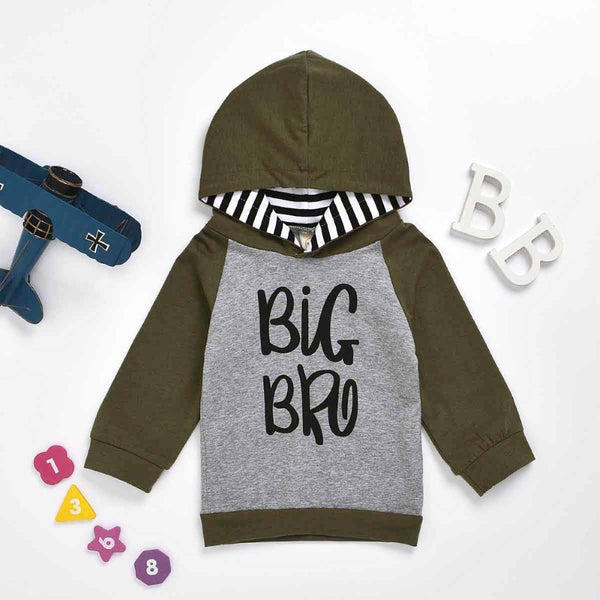 Boys Big Brother Printed Stripe Hooded Top Wholesale Toddler Boy Clothes