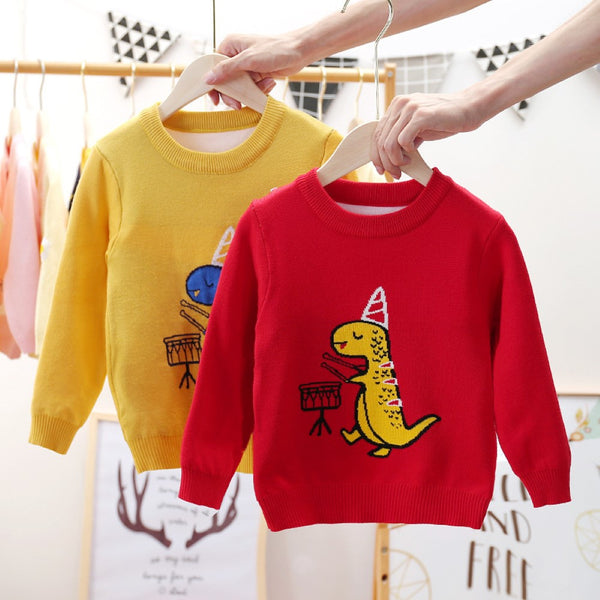 Boys Birthday Dinosaur Pattern Long Sleeves Knitting Sweater Little Boy Boutique Wholesale