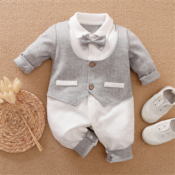 Baby Boys Bow Decor Long Sleeve Rompers