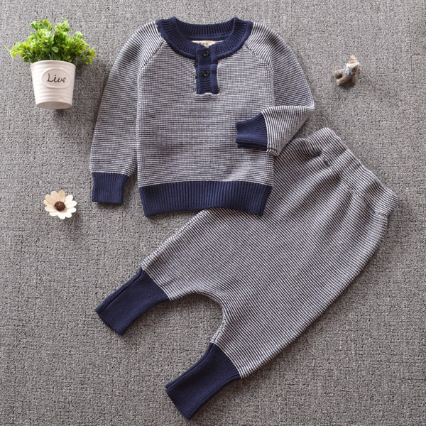 Boys British Style Stripe Long Sleeves Top & Pants Boys Casual Suits