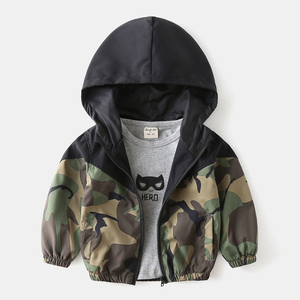 Boys Camouflage Hooded Long Sleeves Jackets Wholesale Toddler Boy Clothing