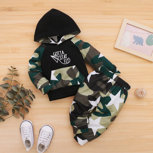 Boys Camouflage Letter Printed Top & Pants Wholesale Toddler Boy Clothes