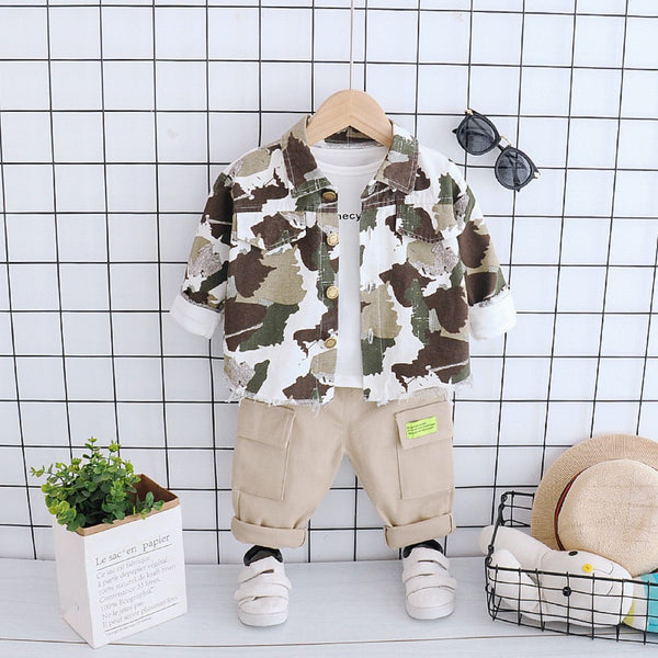 Boys Camouflage Long Sleeves Tooling Suits Wholesale Toddler Boy Clothes