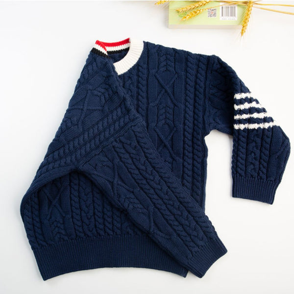 Boys Campus Style Stripe Sweater Wholesale Boys Boutique Clothing