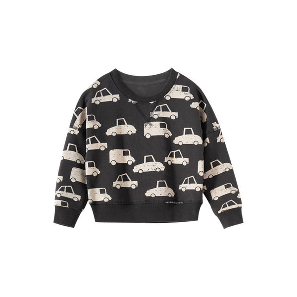 Boys Car Pattern Round Neck Long Sleeves Top Wholesale Boys Clothes