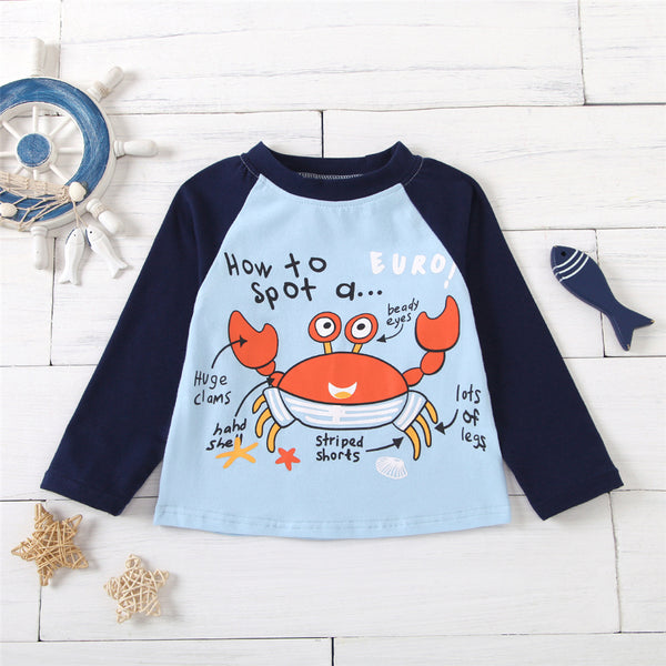 Boys Cartoon Letter Printed Long-Sleeve Top Little Boys Wholesale Clothing
