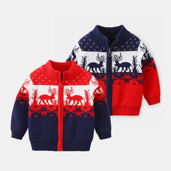 Boys Christma Elk Pattern Long Sleeves Sweater Jacket Boy Clothes Wholesale