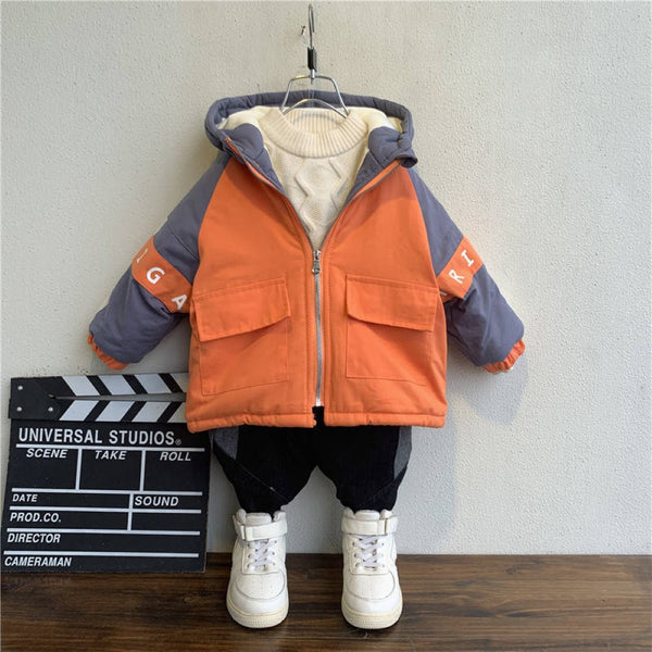 Boys Color Matching Hooded Cotton Coat Wholesale Boys Clothing Suppliers