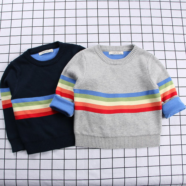 Boys Color Stripe Pattern Knitting Sweater Little Boys Wholesale Clothing