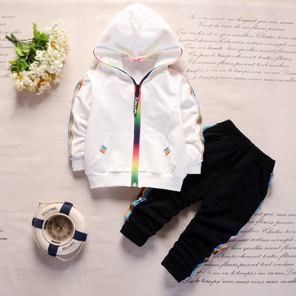 Boys Color Stripes  Zipper Long Sleeves Top & Pants Wholesale Boys Suits