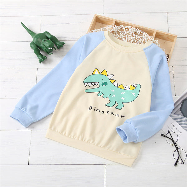 Boys Cute Dinosaur Printed Long Sleeve Tops Wholesale Boy Clothes