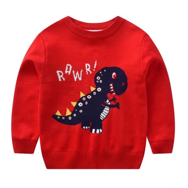 Boys Dinosaur Pattern Knitting Sweater Wholesale Clothing For Boys