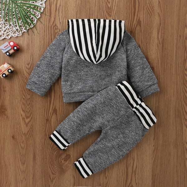 Boys Dinosaur Striped Hooded Long Sleeves Suits Baby Boy Wholesale Clothing
