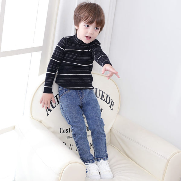Boys Elastic band Solid Jeans Wholesale Boys Jeans