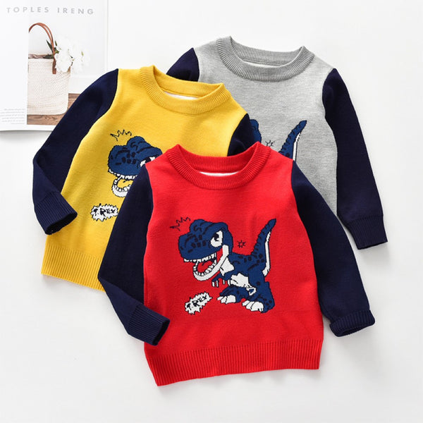 Boys Happy Dinosaur Pattern Long Sleeves Knitting Top Boys Wholesale Clothes