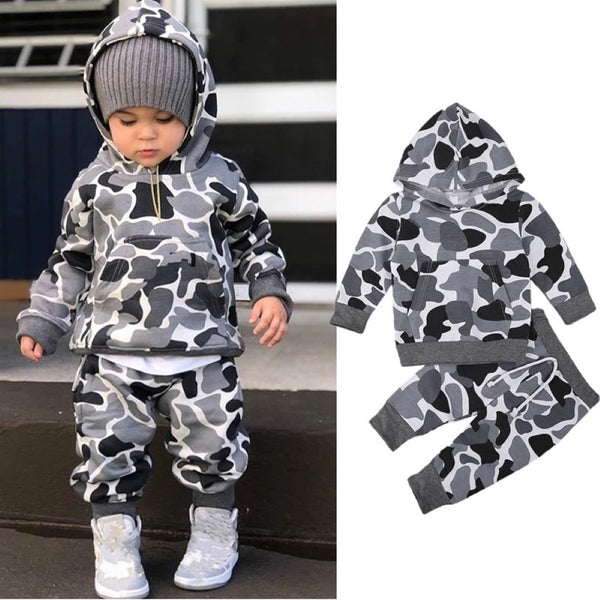 Boys Hooded Camouflage Sport Suits Boys Casual Suits