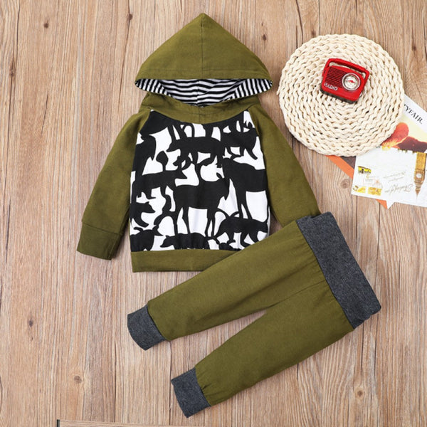 Boys Hooded Long Sleeve Animal Shadow Suits Boys Casual Suits