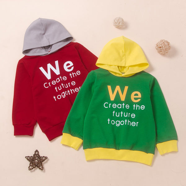 Boys Hooded Printed Letter Splicing Shirt Wholesale Boys Suits
