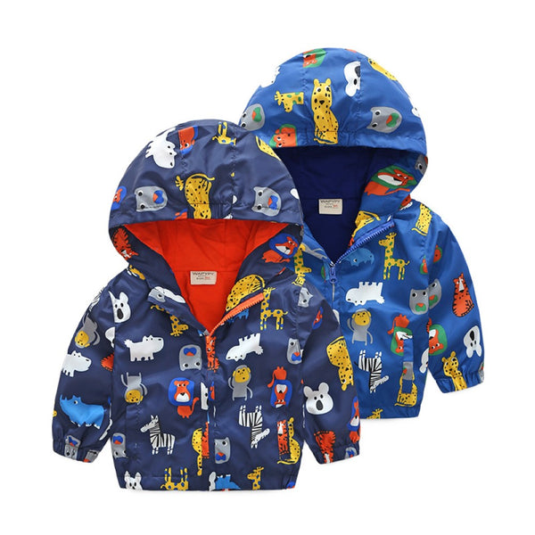 Boys Hooded Zipper Cartoon Animal Word Printed Jacket Boys Wholesale