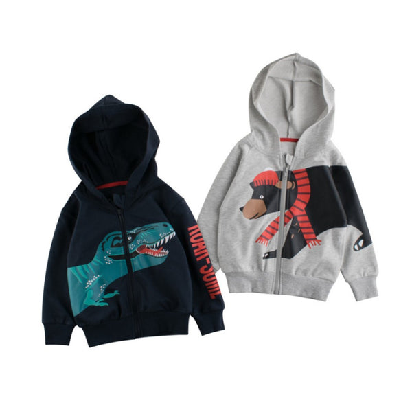 Boys Hooded Zipper Dinosaur Jcaket Wholesale Boys Clothing