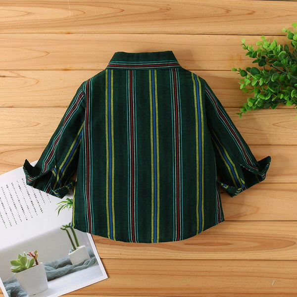 Boys Lapel Stripe Long Sleeve Shirt Wholesale Toddler Boy Clothing
