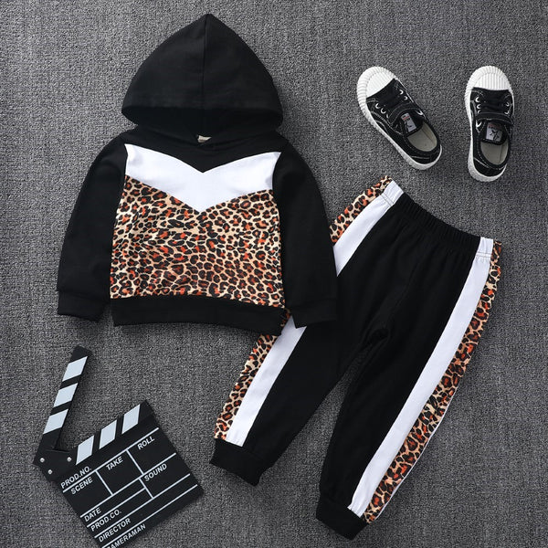 Boys Leopard Hooded Top & Pants Boys Wholesale Clothing