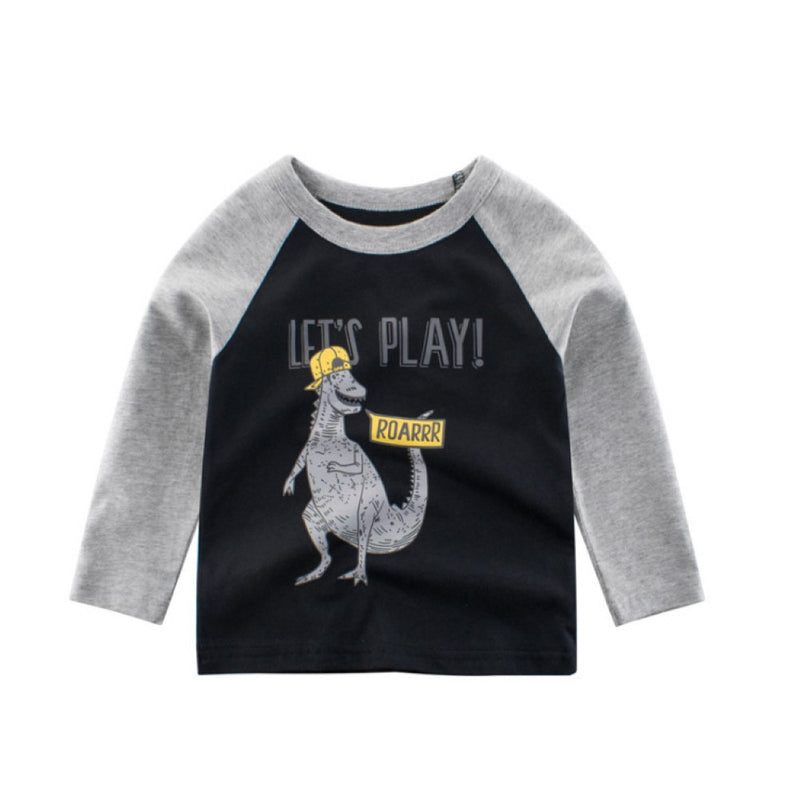 Boys Let's Play Dinosaur Pattern Long Sleeves Shirt Little Boys Wholesale Clothing