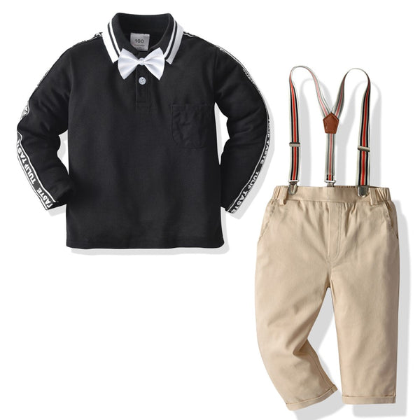 Boys Letter Pattern Polo Top & Overalls Wholesale Boys Boutique Clothing