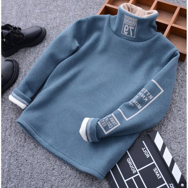 Boys Letter Printed High Neck Top Wholesale Boy Boutique Clothing