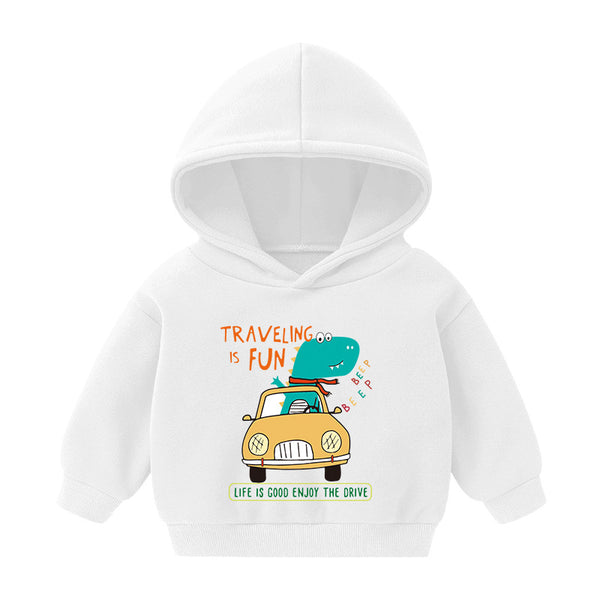 Boys Little Dinosaur Driving Printed Hooded Top Wholesale Toddler Boy Clothing