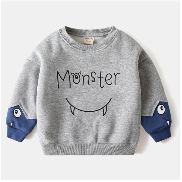 Boys Little Monster Pattern Long Sleeves Top Wholesale Toddler Boy Clothes