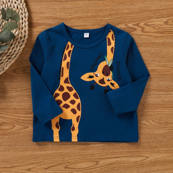 Unisex Long Sleeve Cartoon  Giraffe Printed Shirt Boys Wholesale