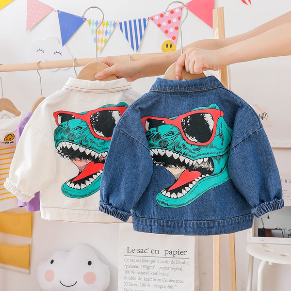 Boys Long Sleeve Cartoon Green Dinosaur Jacket Boys Boutique Clothing Wholesale