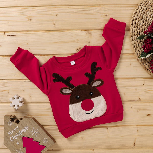 Boys Long Sleeve Christmas Cartoon Elk Shirt Boys Wholesale