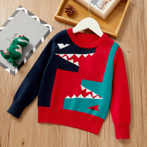 Boys Long Sleeve Color Matching Cartoon Dinosaur Shirt Wholesale Boy Clothes