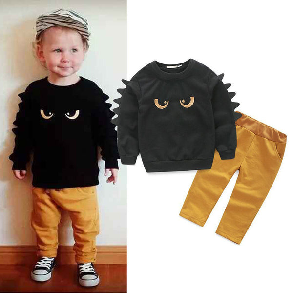 Boys Long Sleeve Monster Tops&Solid Pants Boys Clothes Wholesale