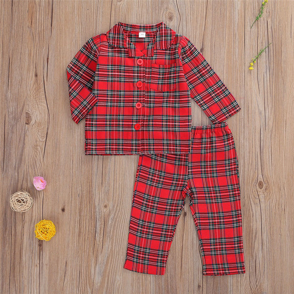 Boys Long Sleeve Plaid Tops+Pants Baby Boys Clothing Wholesale