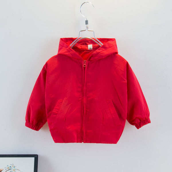 Boys Long Sleeve Solid Color Hooded Jacket Boy Clothing Wholesale