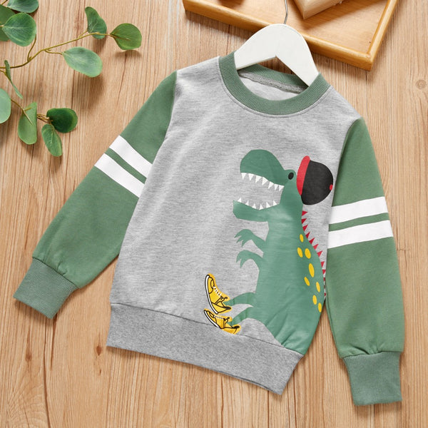 Boys  Long Sleeve Splicing Cartoon Dinosaur Top Boys Wholesale