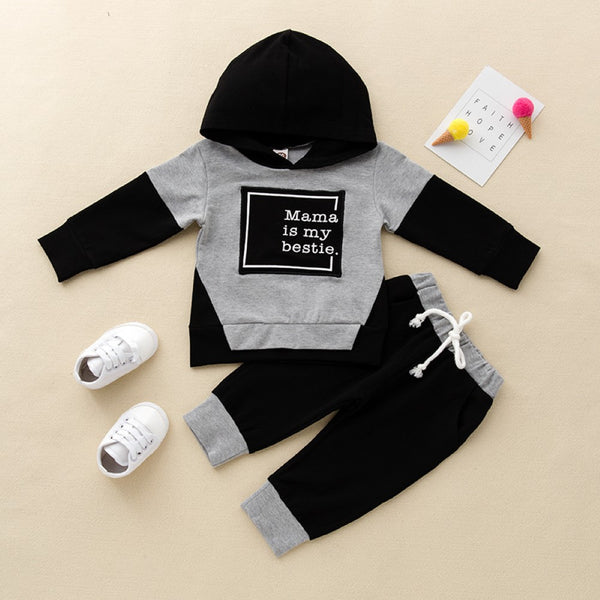 Boys Mama Letter Printed Hooded Suits Boys Clothes Wholesale
