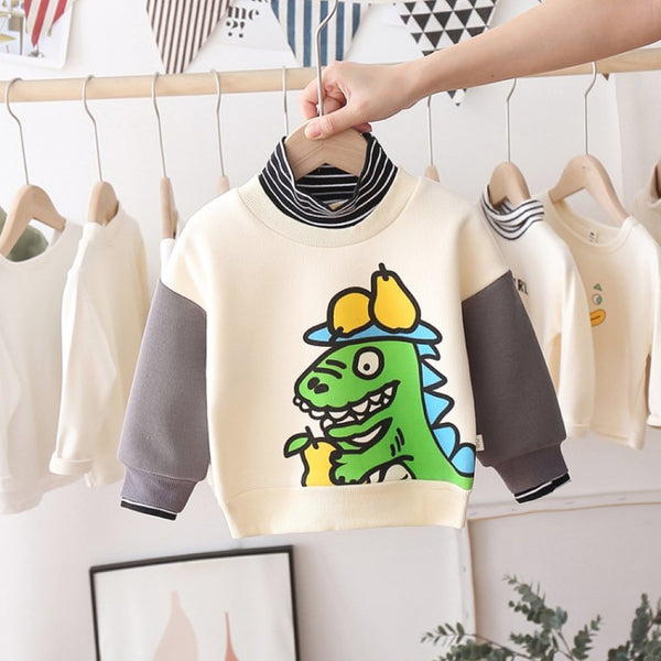 Boys Pear Dinosaur Pattern Stripe High Neck Long Sleeves Top Boys Wholesale Clothes