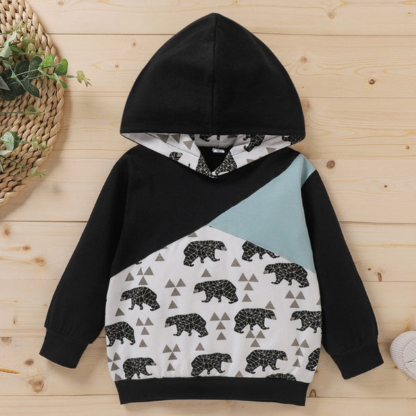 Boys Polar Bear Pattern Hooded Long Sleeves Top Wholesale Toddler Boy Clothes