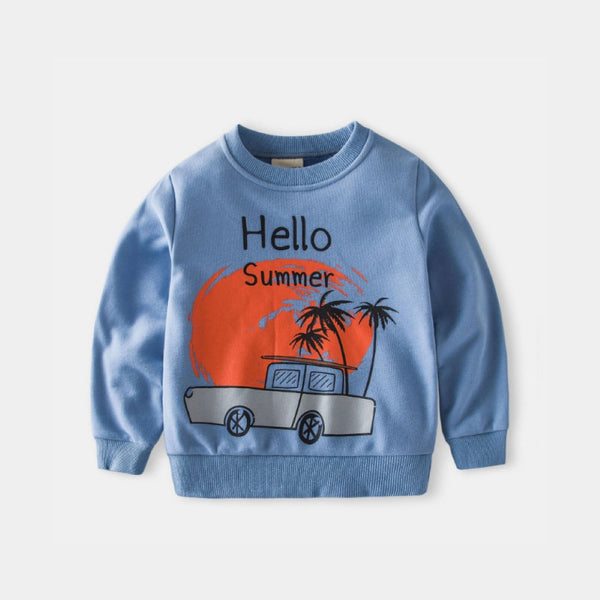 Boys Round Neck Cartoon Car Printed Top Wholesale Boys Clothing Suppliers